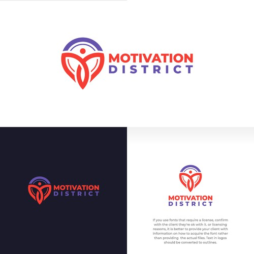 Letter MD with People and point logo concept