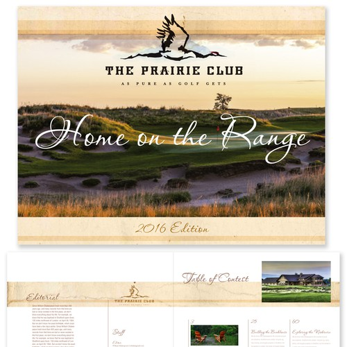 Design a rustic-cool magazine cover/sample pages for one of America's top golf resorts