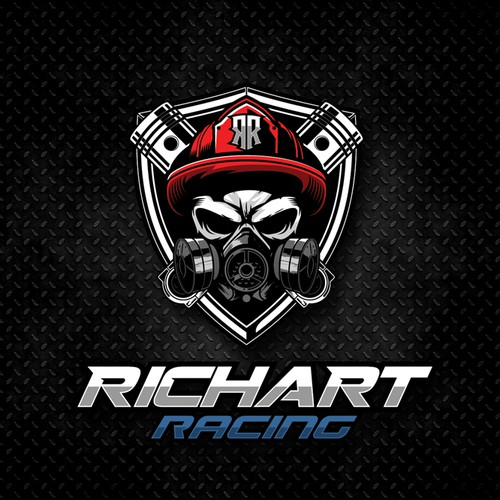 skull with gas mask and piston, with theme firefighter for RICHART RACING
