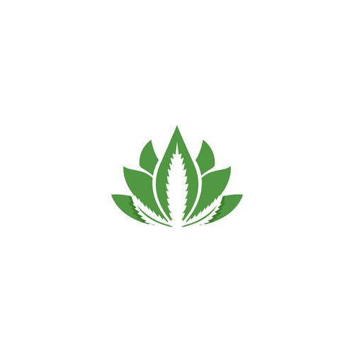 cannabis leaf and lotus flower logo