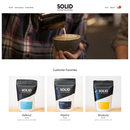 Solid Coffee Roasters Squarespace Website Build