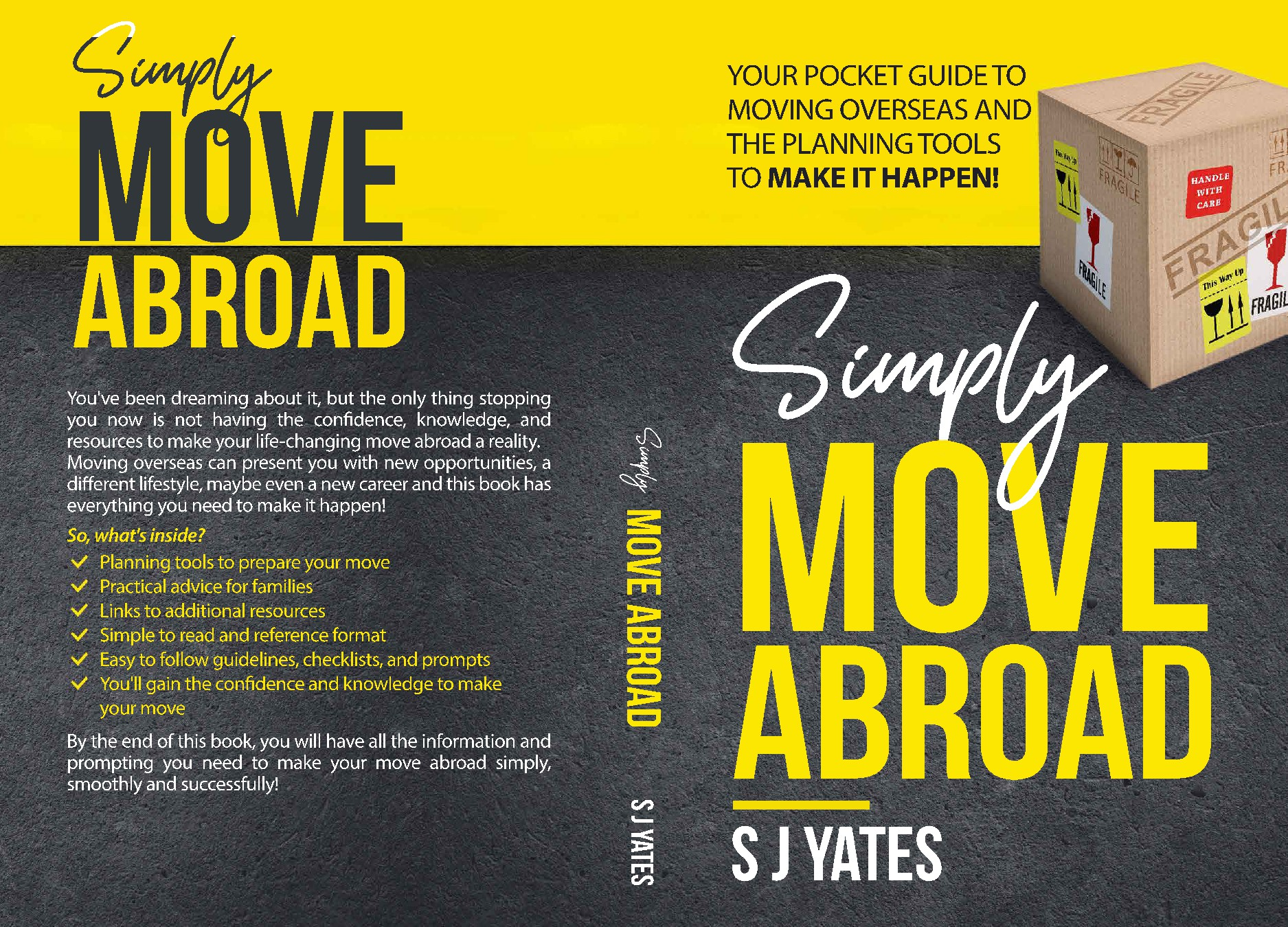 Design a bold book cover for practical guide to moving abroad