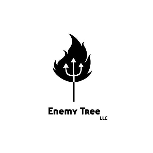 Flaming tree logo for tech company