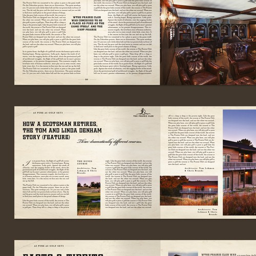 Magazine design for America's top golf resorts