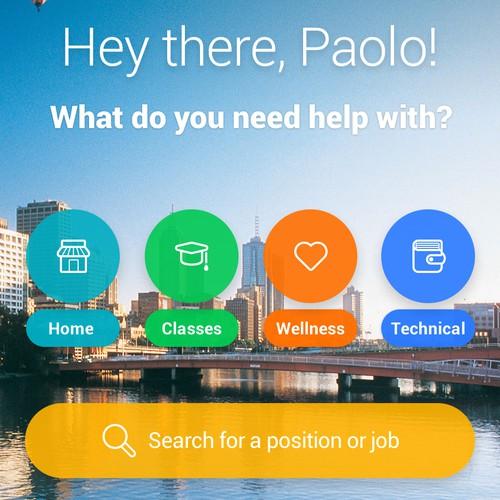 UI Design concept for app start page