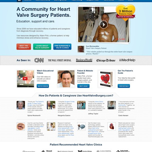 Redesign the Home Page of HeartValveSurgery.com