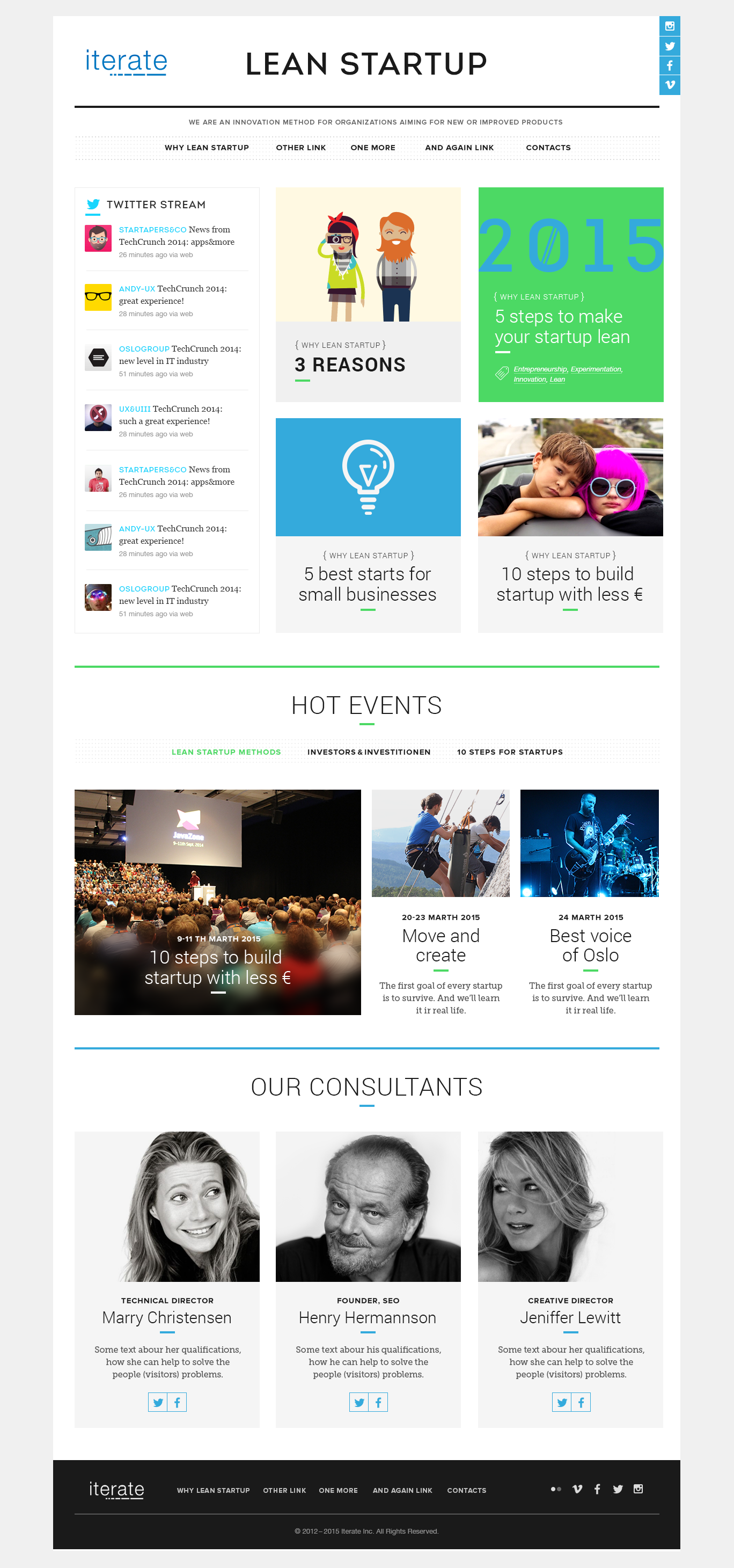 Design Iterate's new Lean Startup home page, all magazine style.