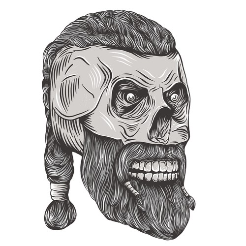 Viking skull illustration