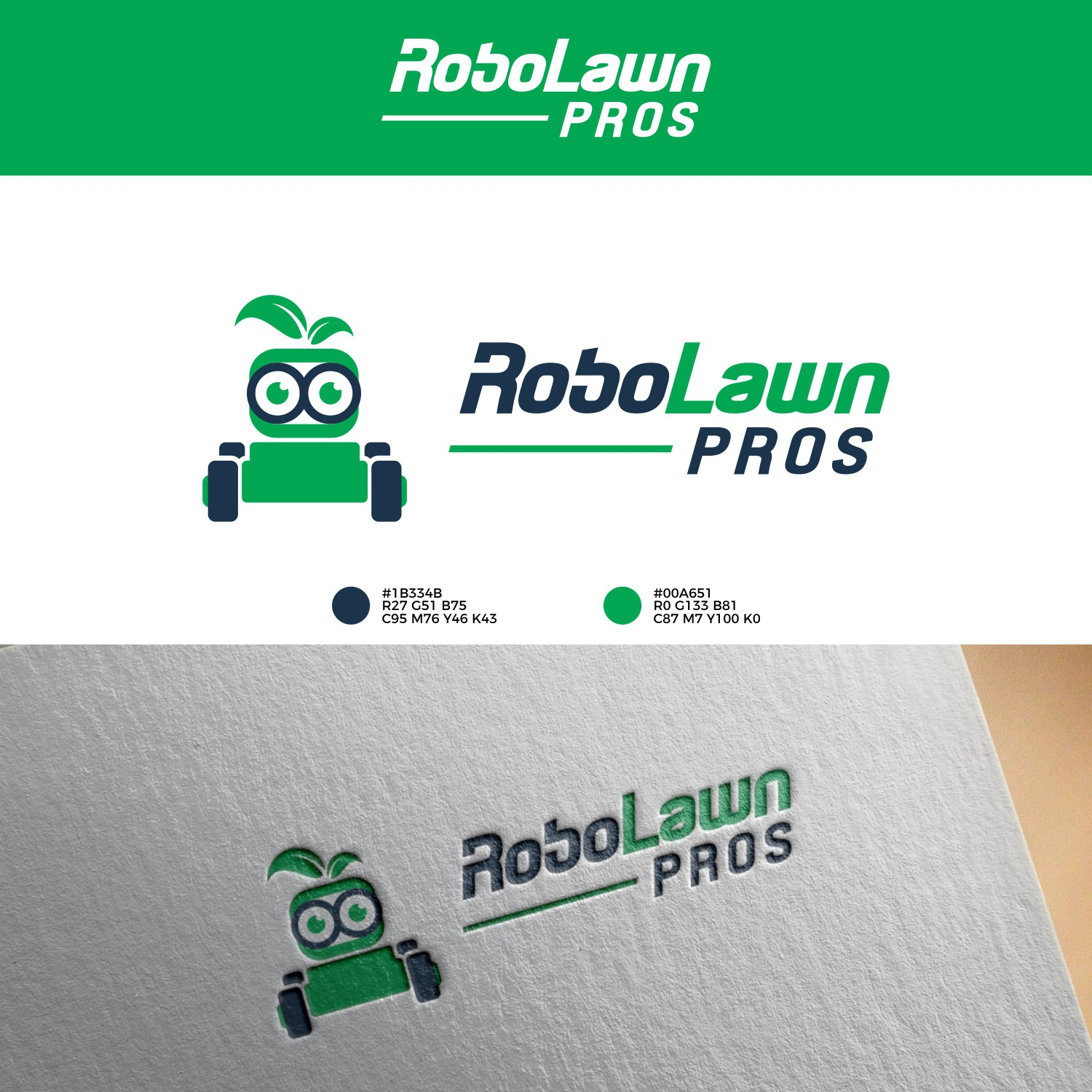 Create a new logo for robotic mower retailer Robo Lawn Pros