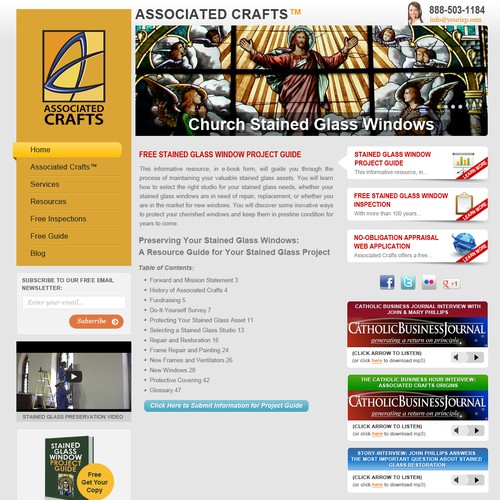 Associated Crafts - Church Stained Glass Windows needs a new website design