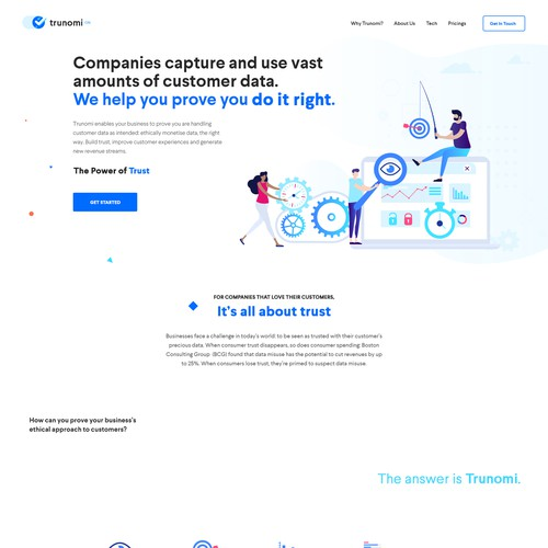 Clean and creative web design for trust