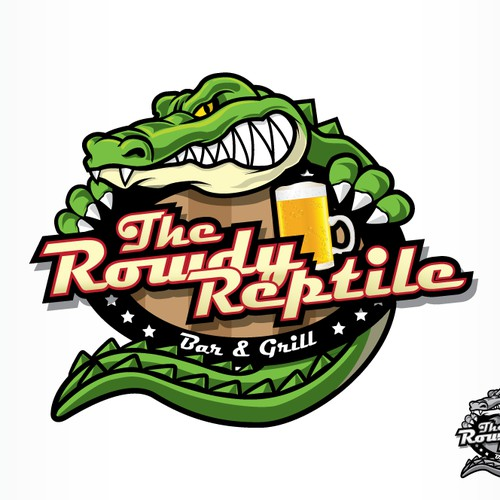 Create the next logo for The Rowdy Reptile Bar and grill