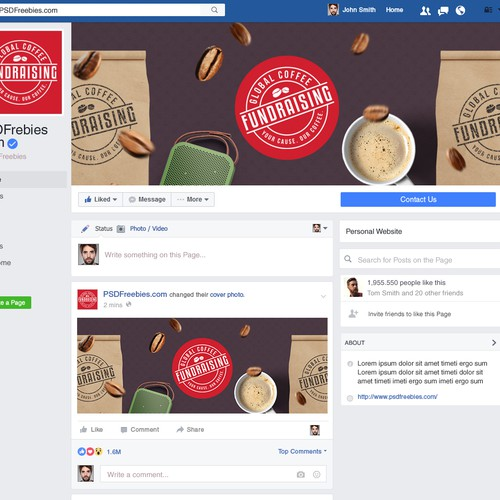 Facebook Cover for Coffee Fundraising Company!