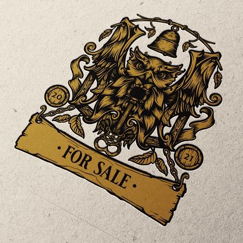Rustic bar Illustrative Logo for Sale