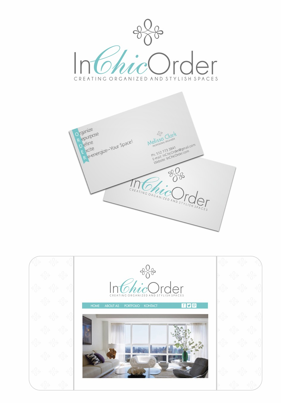 Create the next logo and business card for In Chic Order