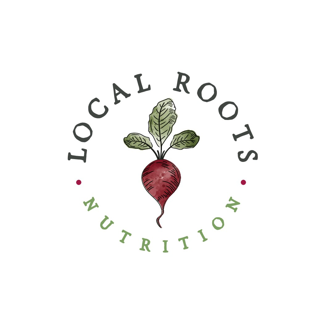 Design a plant based logo for nutrition counseling business called Local Roots Nutrition