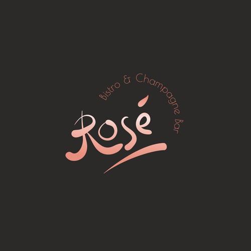 Elegant rose gold logo for champagne bar