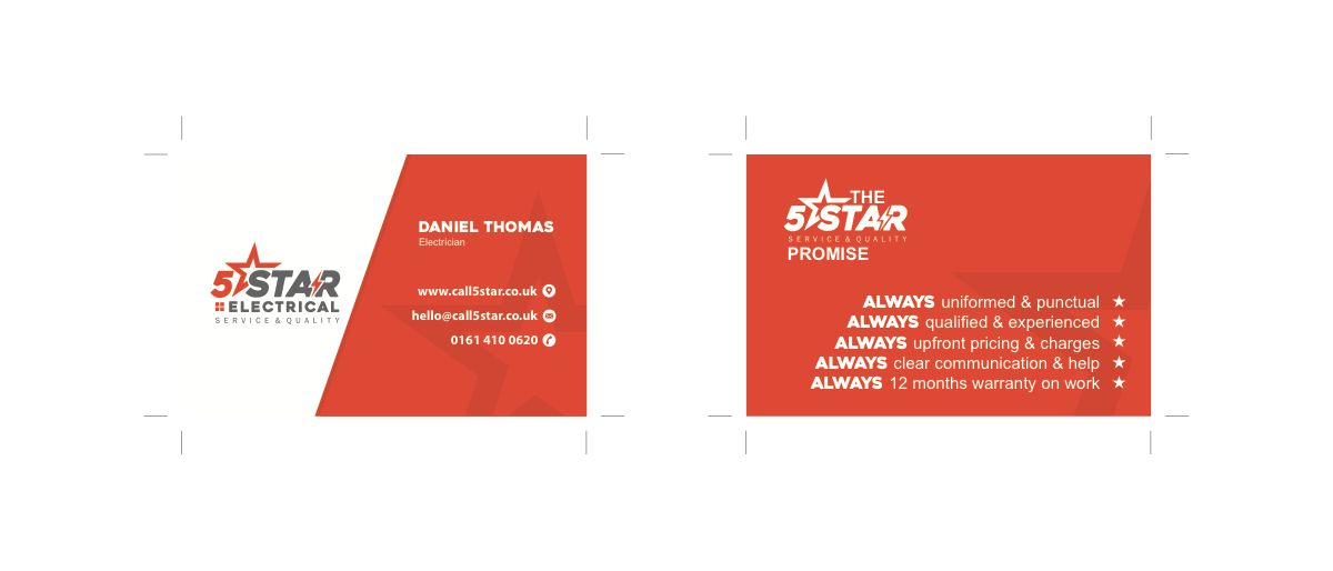 business cards design required for 5STAR electrical