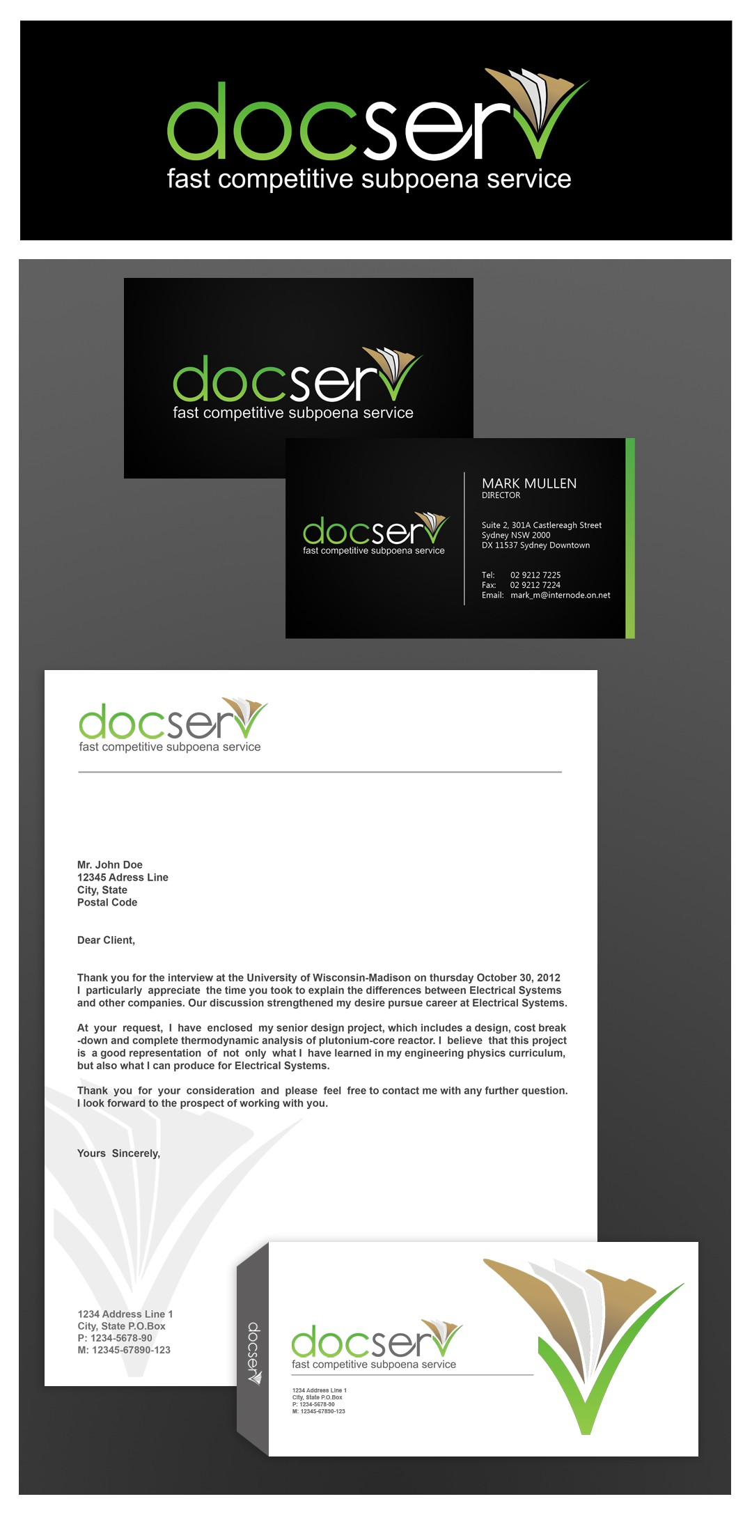 Create the next logo and business card for DOCSERV