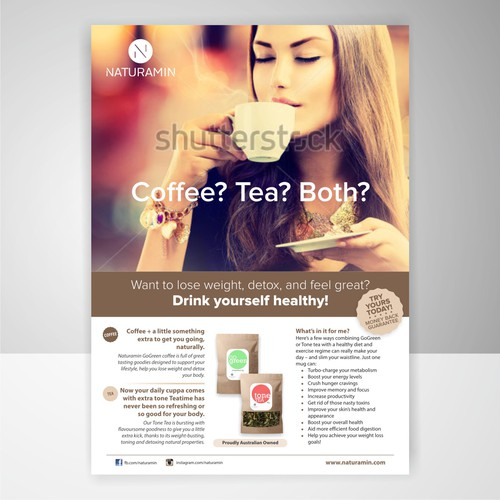 Create a vibrant flyer for a weight loss tea and coffee product