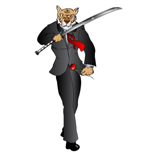 Bold TIGER wearing a suit, holding Rose and Sword
