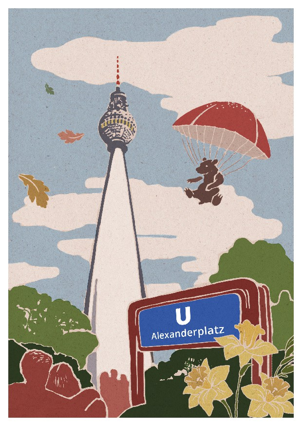 Illustrated Postcard of the Berlin TV-Tower