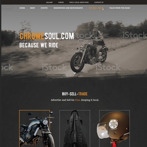 Home page for a motorcycle community website