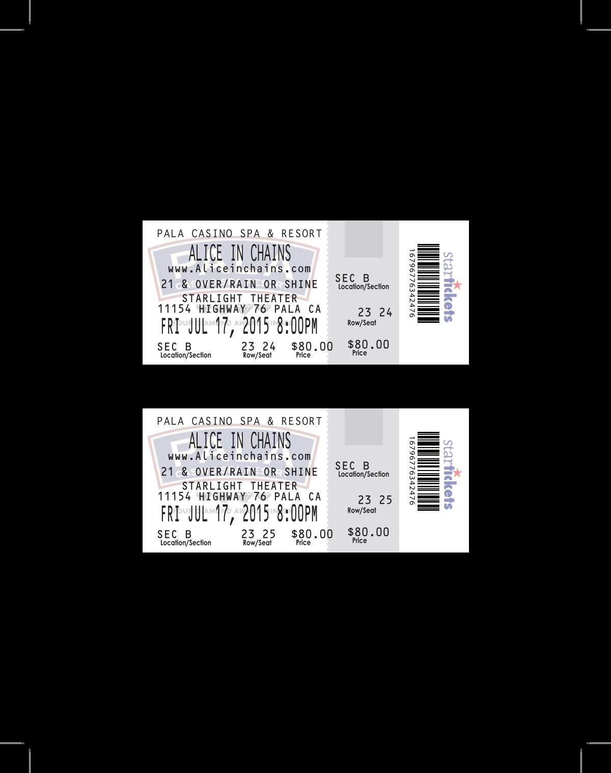 Concert Ticket Replicas