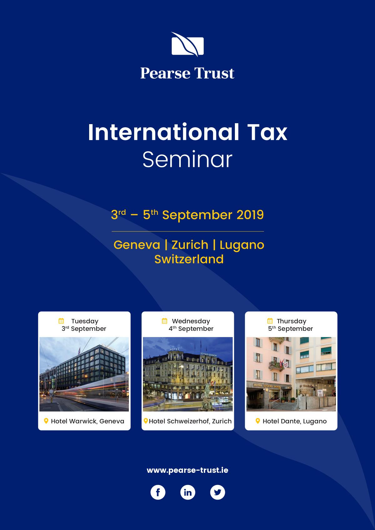 Pearse Trust International Tax Seminar Programme