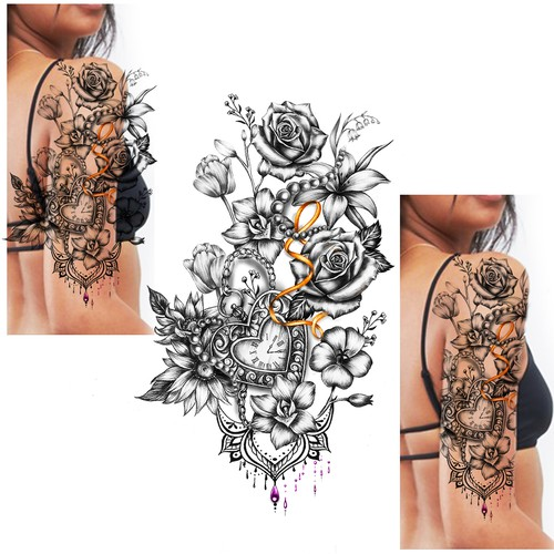 1/2 Sleeve Floral Tattoo Design