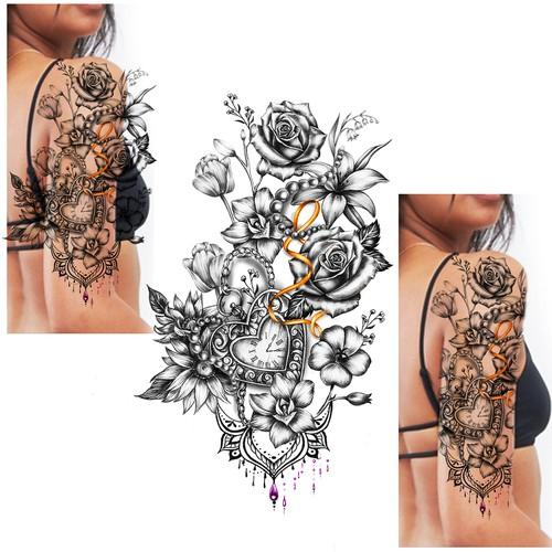 1/2 Sleeve Floral Tattoo Design