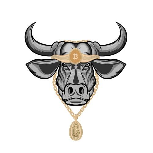 Bull Head w/ Bitcoin Gold Chain! -- For a Leading Bitcoin Company