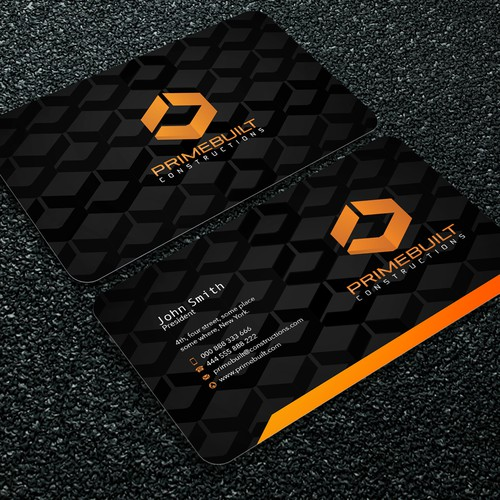 Create a modern striking yet simple and clean business card for Primebuilt