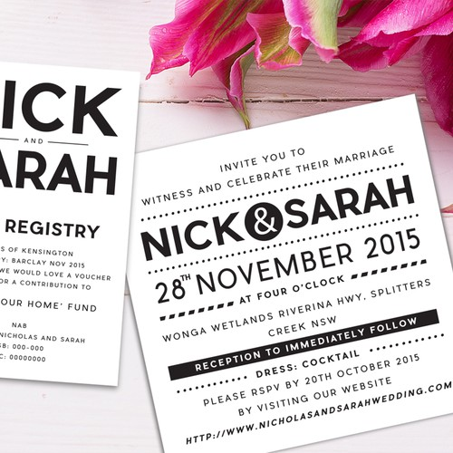 Nick and Sarah wedding Invitation design