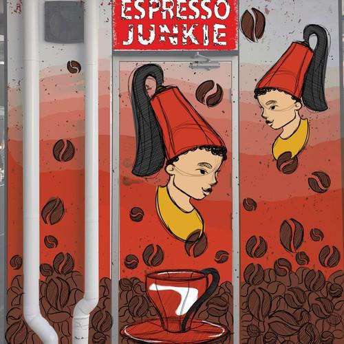 Mural illustration for a coffee kiosk