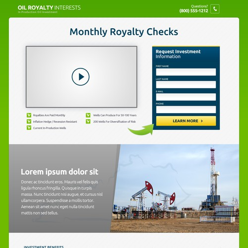 Oil Royalty Landing Page