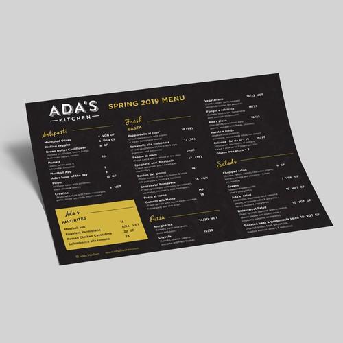 ADA's Kitchen Spring 2019 Menu