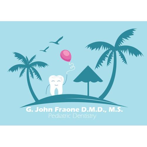 Create a kid friendy beach themed logo for a pediatric dentist.