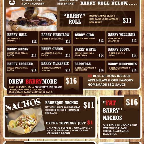 Smokin Barry's Food Truck need a Hot New Menu!!!!Are you hungry?????