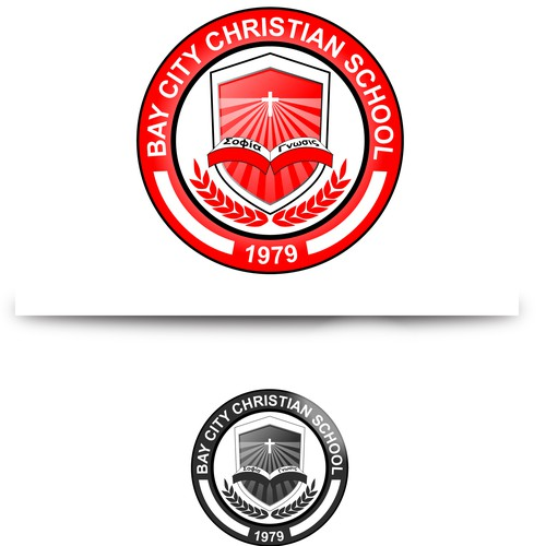 Create a modern school crest with traditional Christian & academic ideals