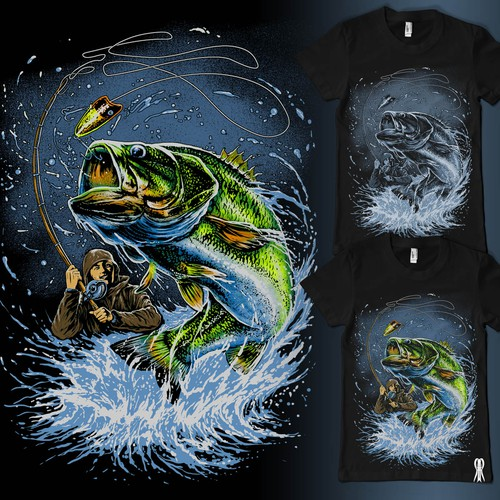 Shirtdesign: stunning fishing scene with trout or pike