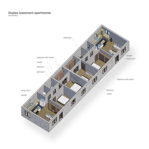 Duplex basement apartments
