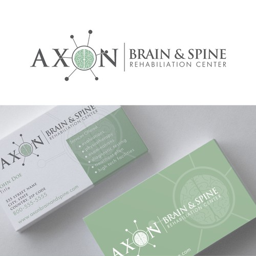 Create a captivating logo and business card for the leading brain andspine rehab center.