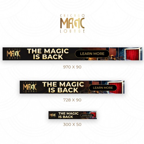 Banners for Magic Theatre with Gold and Dark colours