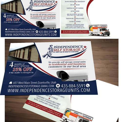 Create an eye-catching direct mailer for a brand new self-storage business.