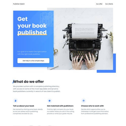 Clean, minimalist desktop landing page for the writers