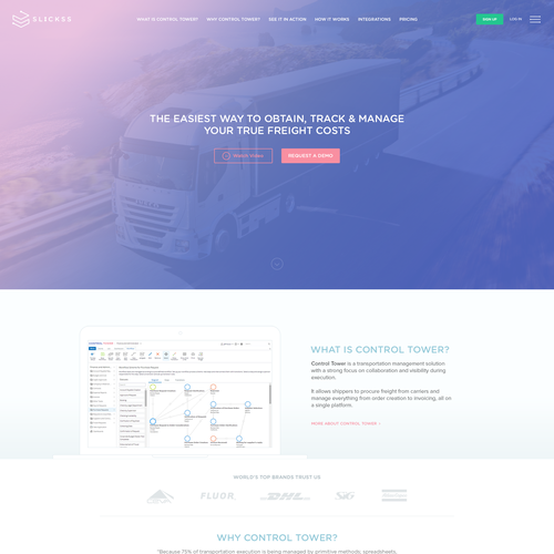 Homepage design Belgium based transportation management solution provider