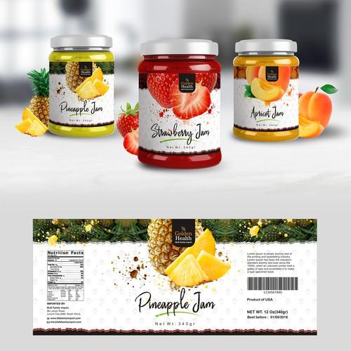 Glass jar fruit Jam label