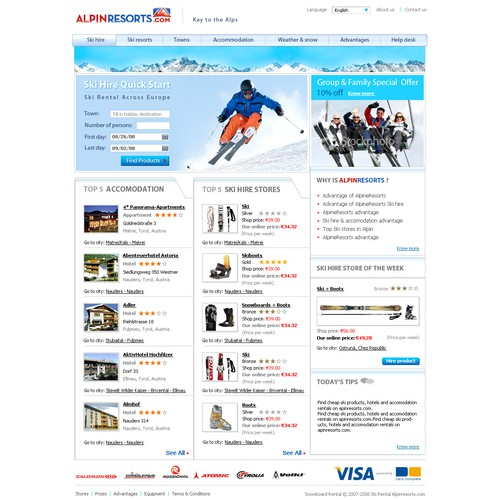 Emotional design for a Ski Rental Portal