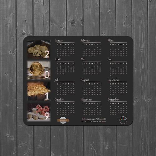 Calendar Mouse-pad design for 2019